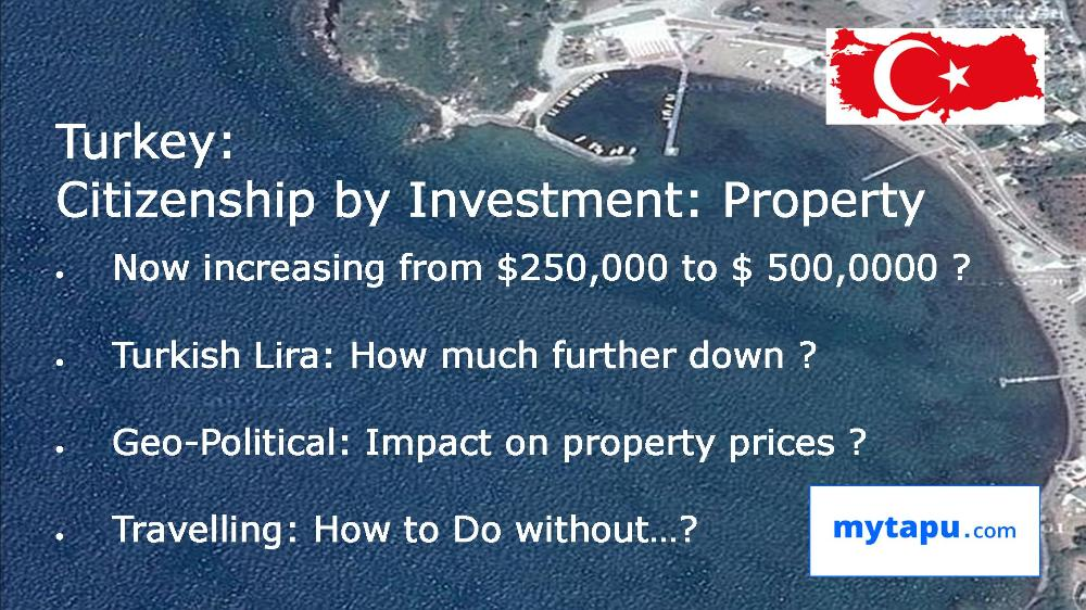Turkey: Citizenship Investment Program via Purchase of Real Estate Property: Professional Investment Consulting Services at mytapu.com