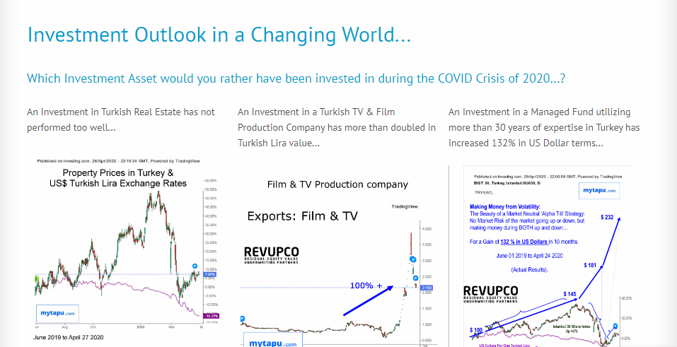 Investment Performance of Turkish Assets During COVID Crisis April 2020: Property, TV & Film Production, and  Long-Short Market Neutral Alpha Tilt Hedge Fund