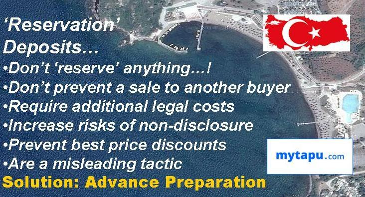 Buy Property in Turkey without Reservation deposit- due diligence